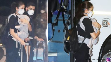 England Tour: Anushka Sharma spots her daughter Vamika on her chest at the airport, husband Virat Kohli was also seen with her (See Photos)