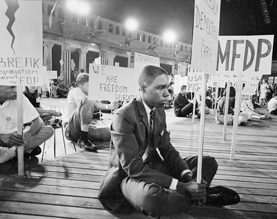 "Herron, Matt. ""Mississippi Freedom Democratic Party Protests at the Democratic National Convention."" Digital image. PBS: American Experience. August 1964. http://www.pbs.org/wgbh/americanexperience/features/freedomsummer-project/."