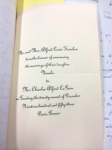 Announcement of wedding of Ursula Kroeber to Charles LeGuin