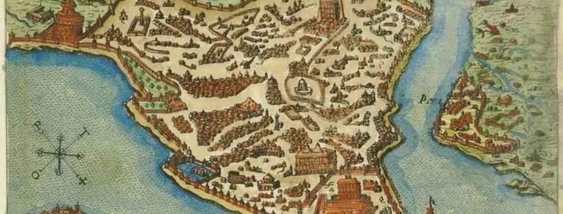 Carte ancienne en couleur de la ville de Constantinople