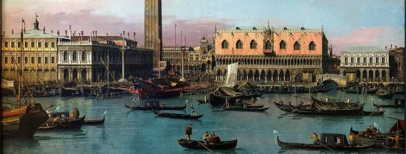 dessin en couleur représentant la place saint marc et les canaux de Venise au XVIIIe siècle