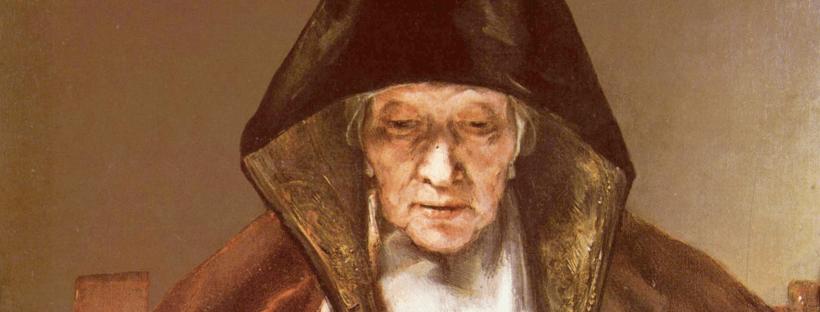 Rembrandt, Portrait d'une vieille femme qui lit, 1655 (détail)