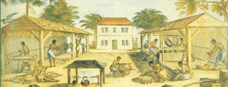 Esclaves travaillant dans une plantation de tabac, détail d'une peinture de 1670 (domaine public).