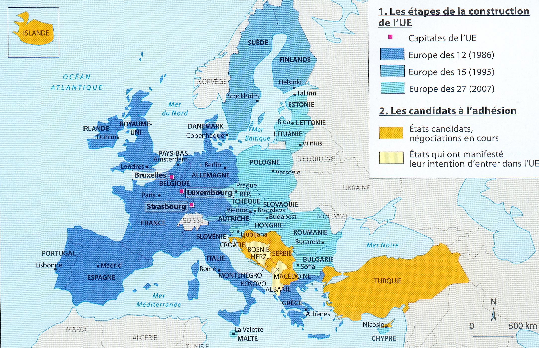 CARTE les Etats de l'Union européenne et leurs capitales1