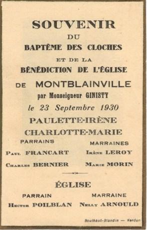 Montblainville - souvenir Baptême des cloches - collection Didier Pinheiro verso