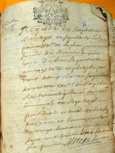 Registre des Baptêmes Mariages et Sépultures de la paroisse de Lachau - Janvier 1733
