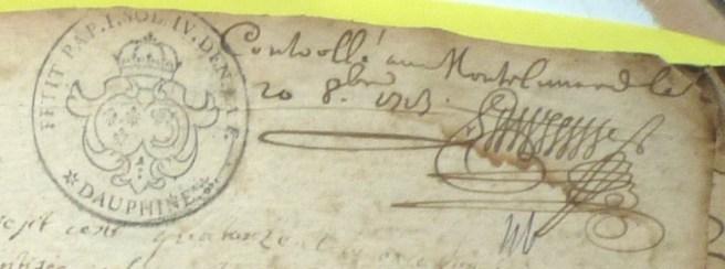 Contrôles administratifs portés sur l'exemplaire du registre du curé / Contrôlé à Montélimard le 20 Octobre 1713