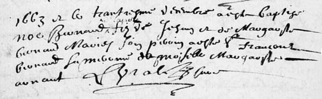 Naissance de Noé Bernard, fils de Jean et Margueritte Bernard
