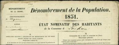 Dénombrement de la population 1851