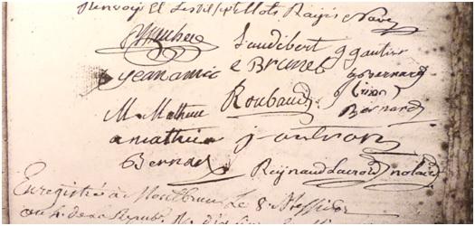 Les signataires de l'acte de partage du château du 8 juin 1796