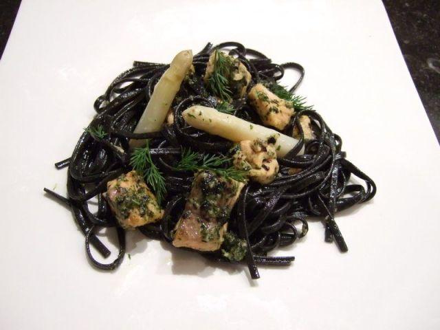 linguine au saumon et asperges