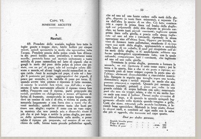 raviolis au poisson - texte original