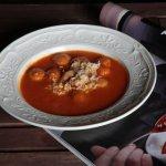 soupe tomate aux boulettes et pâtes alphabet