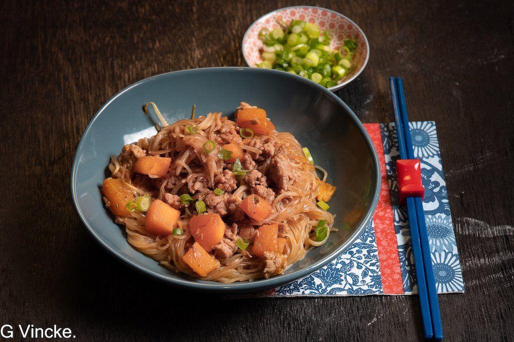 Vermicelles de riz au potiron