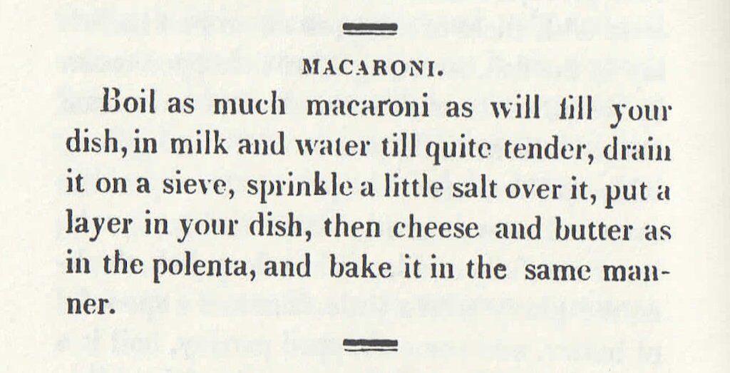 Macaroni de Mary Randolph 1824
