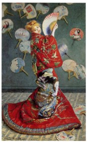 Monet, La japonaise (Camille Monet), 1876 ©Muséum of Fine Art, Boston. Le mur du fond est animé d'uchiwa (éventails rigides), comme pour rendre hommage à La Dame aux éventails que Manet avait représentée deux ans auparavant.