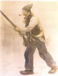 Le Vieux de 37. Aquarelle (1904) par Henri Julien (1852-1908).