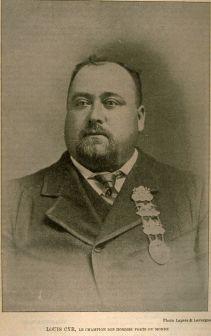 « Louis Cyr, le champion des hommes forts du monde », par A.J. Rice, Laprés & Lavergne. Image tirée de Le Monde illustré, vol. 15, no 780 (15 avril 1899), p. 789.