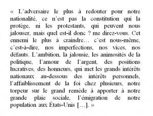 Extrait du « Discours prononcé le 25 juin 1883 par M. le curé Labelle sur la mission de la race canadienne-française en Canada », p. 14.