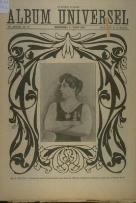 Au début du 20ème siècle, Mlle Athleta aurait lancé un défi aux hommes forts Louis Cyr et Horace Barré. Image tirée de L'album universel, vol. 19, no 47 (21 mars 1903),. p. 1105.