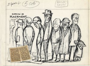Bureau de placement. Caricature de Raoul Hunter pour le journal Le Soleil (27 février 1961). P716,S1,P61-02-27