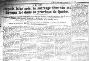 """""""Depuis hier soir, le suffrage féminin est devenu loi dans la province de Québec"""", Le Devoir, 26 avril 1940."""