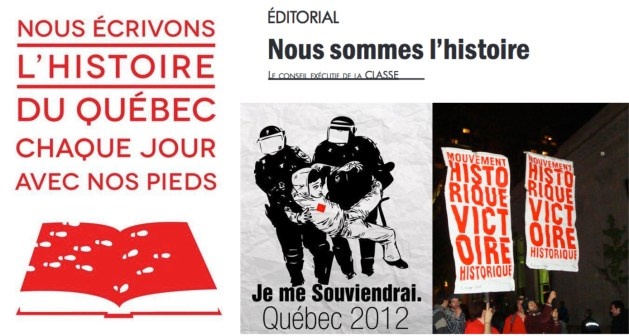 Images ayant circulé sur les médias sociaux; photographie par Jeanne Lavictoire; en-tête d'un article dans l'Ultimatum de juillet 2012.