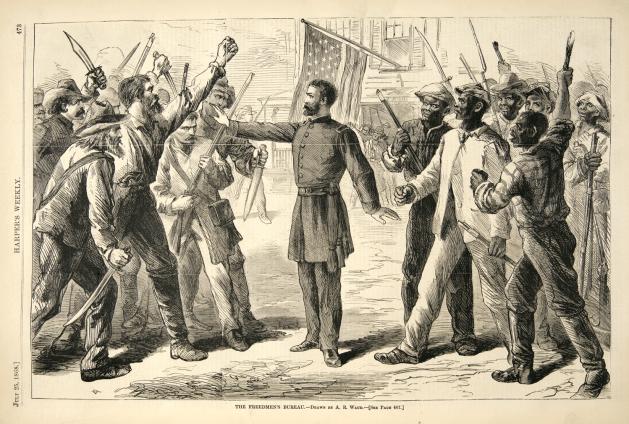 """The Freedmen Bureau"", dessin de A.R. Waud, Harper's Weekly, 25 juillet 1868."