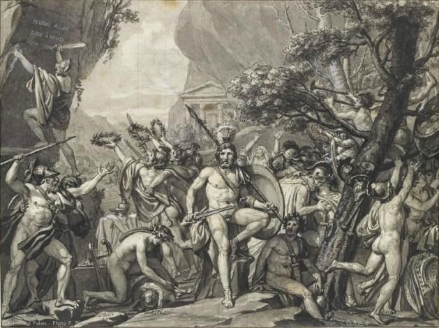 Leonidas aux Thermopyles, par Jacques-Louis David (1814). Source : Musée du Louvre.