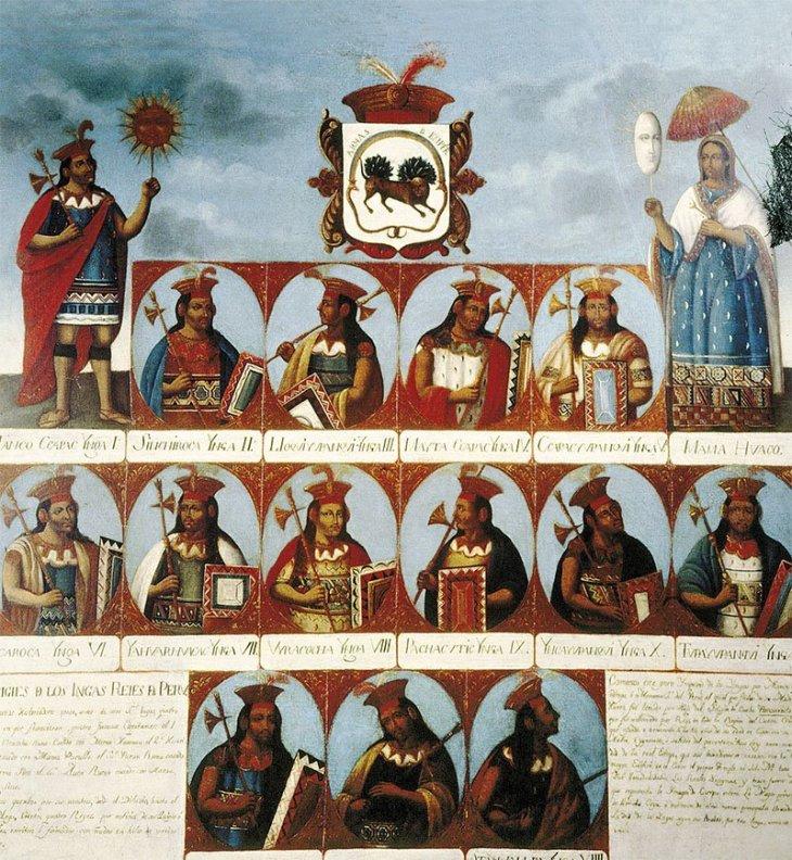 Esta genealogía del siglo XVIII muestra a los soberanos Incas desde el primero, Manco Capac, hasta Atahualpa, vencido por los españoles.