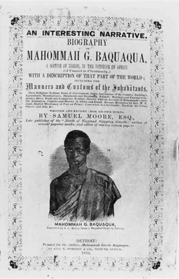"This photo courtesy of Bruno Veras shows an image of Mahommah Gardo Baquaqua on the book cover of Baquaqua's auto-biography published in 1854 and titled, ""Biography of Mahommah G. Baquaqua,"" Taken from Africa and sold into slavery in Brazil, Baquaquaís tale of escape to freedom in New York is the only known story of its kind, an in-depth, firsthand account of slavery in the South America country. But few in Brazil are aware of Baquaquaís biography which, 160 years after it was written, is being published in Portuguese for the first time as momentum builds for the country to examine its complex racial past. (Courtesy of Bruno Veras via AP Photo)"
