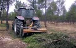 Eliminación mecanizada de residuos no comerciales en un pinar mediante trituración in situ con tractor agrícola y desbrozadora de martillos. (Monte de U.P. número 43 «Corbejón y Quemados» en La Pedraja de Portillo,Valladolid).
