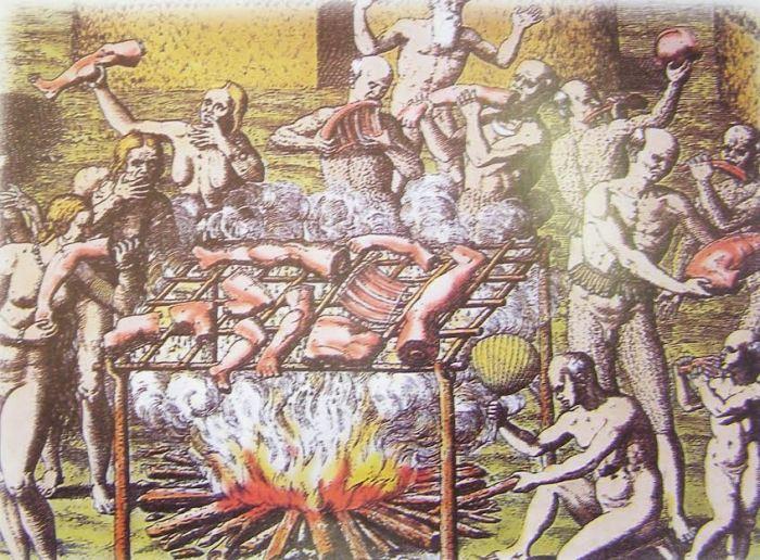 Algunhas tribus amazónicas practicaban o canibalismo e puñan os corpos en grellas artesanais