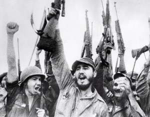 Fidel Cstro no momento do triunfo da revolución cubana