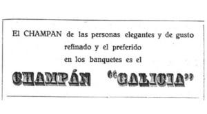Publicidade do champan Galicia