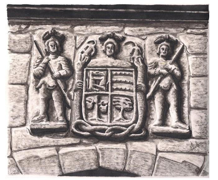 Escudo da casa da Rial (Moraña) pertencente a familia de Xosé de Caldas e Tenorio / Debuxo de Héitor Picallo