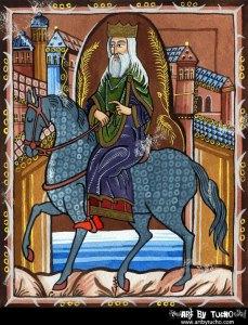 Ilustración alusiva a Hermerico do libro Os reis de Galicia de Anselmo López Carreira