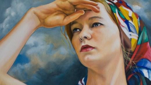 Pintura de muller que mira o mar