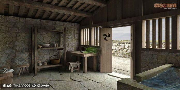 Sauna castrexa xa en 3D visión preliminar / / foto Lanóbrigan