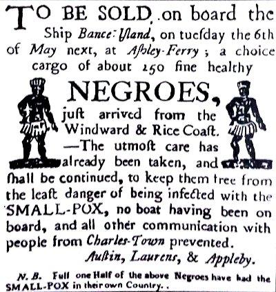 Anuncio de cargamento de esclavos en África