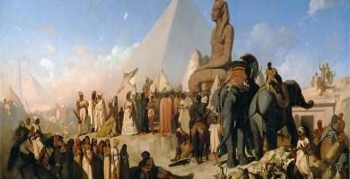 Cuadro conservado en el Louvre en el que se ve la llegada de Cambises a Egipto y la derrota de Psamético III
