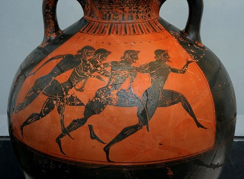 Ánfora griega de figuras negras del último tercio del siglo VI aC,