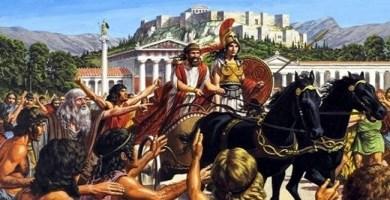 Ilustración que recrea al tirano Pisístrato, personaje importante de la antigua Grecia