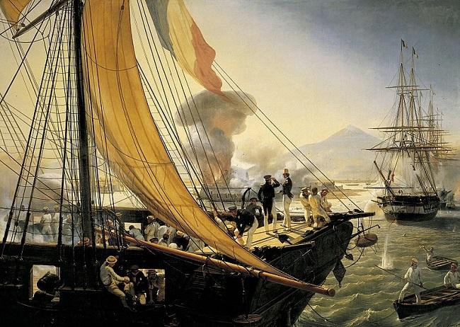 Cuadro contemporáneo que representa el bombardeo de un barco francés en la Guerra de los Pasteles