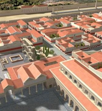 Reconstrucción del área de la Almoina alrededor del 200 d.C.