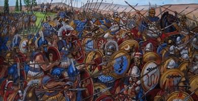 Ilustración que recrea la batalla de Queronea Arrecaballo