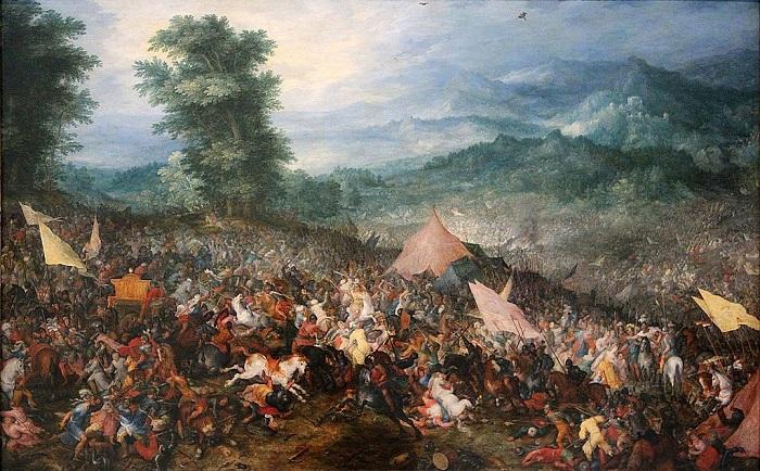 La batalla de Gaugamela, pintada por Brueghel el Viejo en 1602