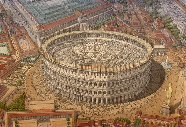 Recreación del Coliseo romano, sede de naumaquias, en su máximo esplendor