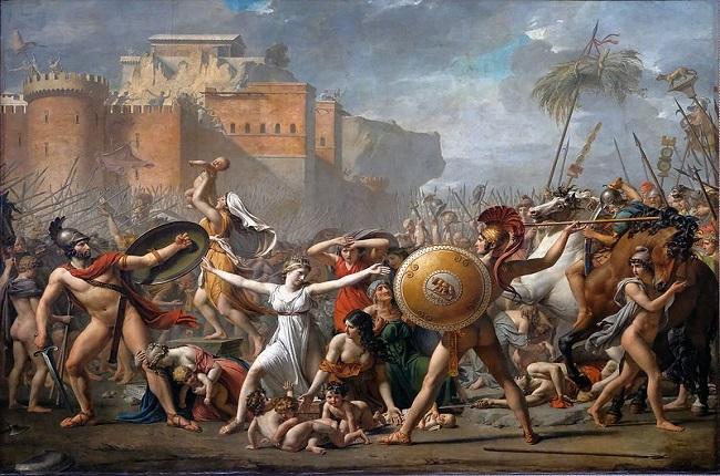 El rapto de las sabinas, de Jacques-Louis David, basada en una de las leyendas de la monarquía romana