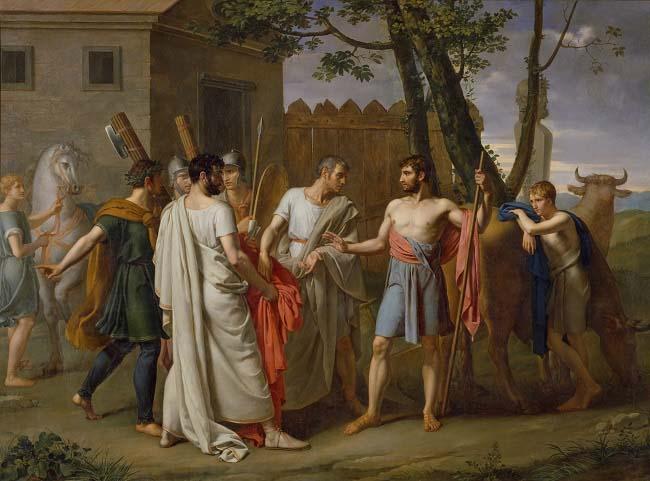 Cincinato abandona el arado para dictar leyes a Roma, obra de Juan Antonio de Ribera sobre una de las magistraturas romanas